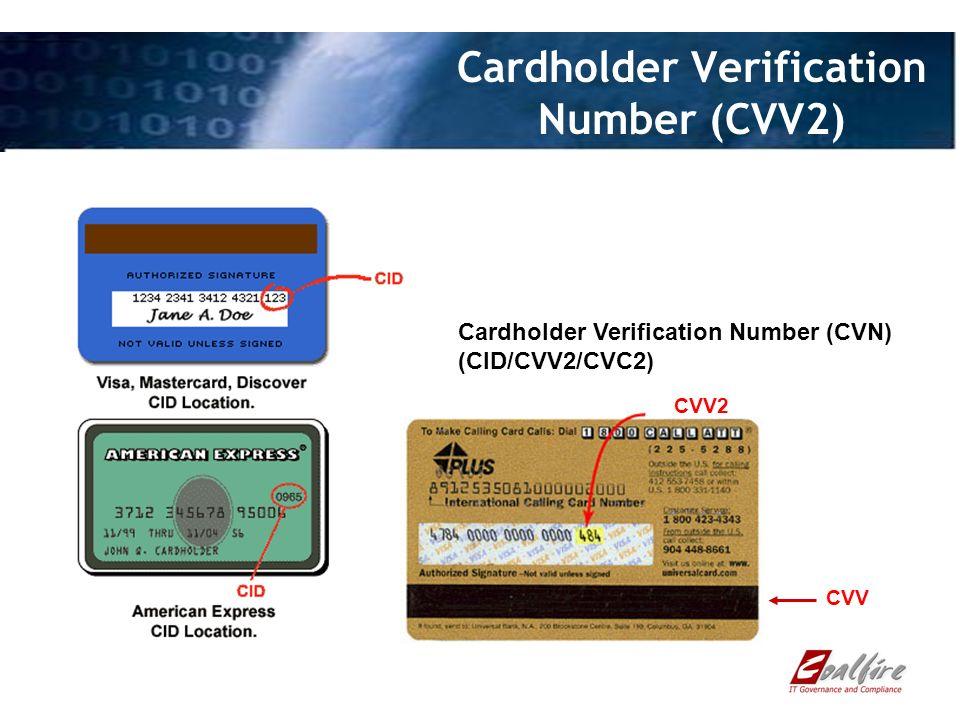 Cardholder Verification Number (CVV2) Cardholder Verification Number (CVN) (CID/CVV2/CVC2) CVV2 CVV