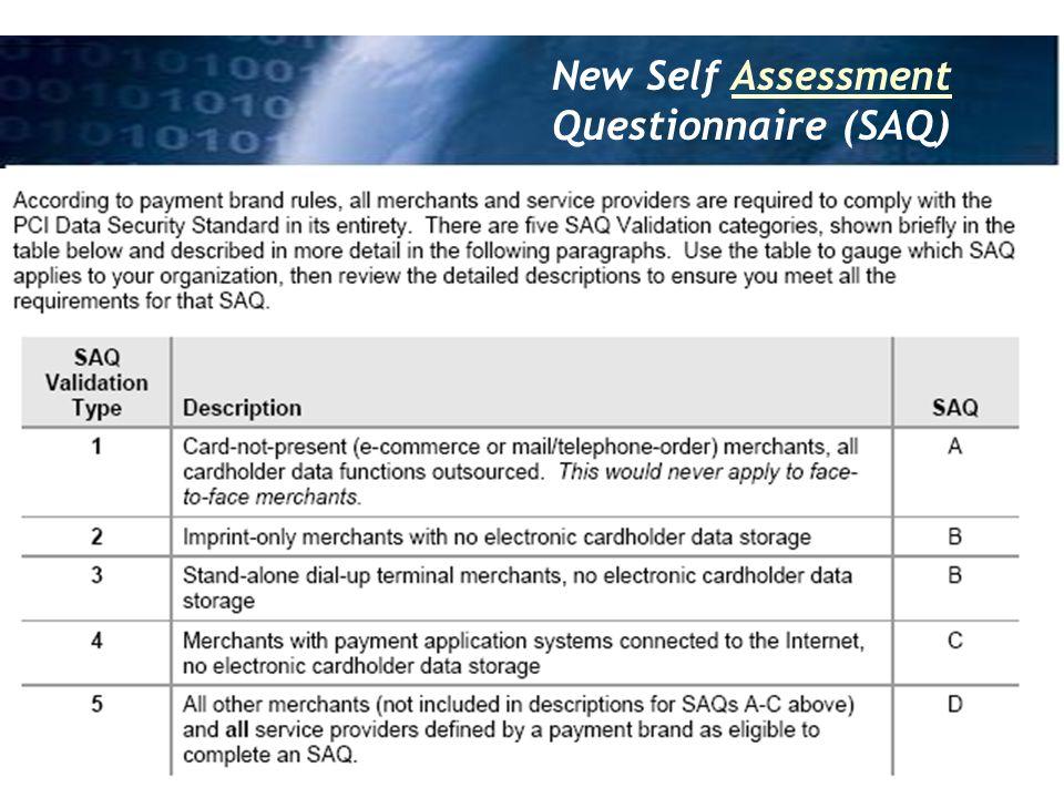 New Self Assessment Questionnaire (SAQ)