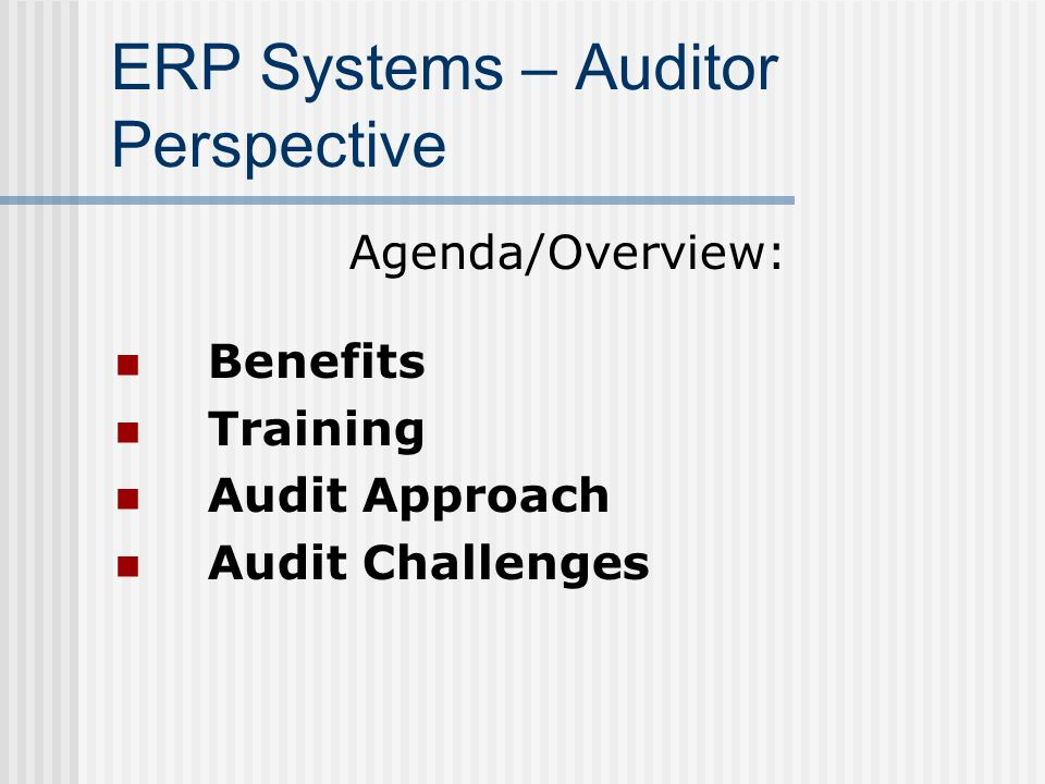 ERP Systems – Auditor Perspective Agenda/Overview: Benefits Training Audit Approach Audit Challenges