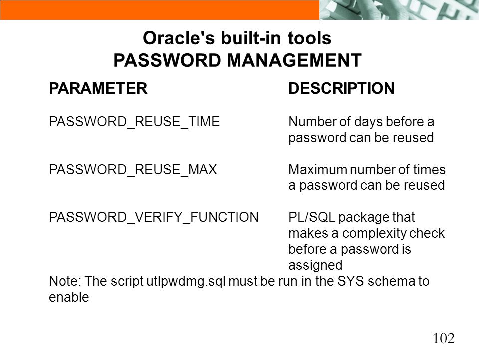102 Oracle's built-in tools PASSWORD MANAGEMENT PARAMETERDESCRIPTION PASSWORD_REUSE_TIMENumber of days before a password can be reused PASSWORD_REUSE_