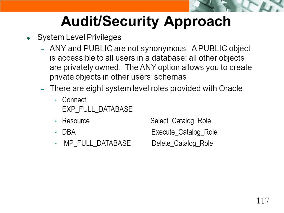 117 Audit/Security Approach l System Level Privileges – ANY and PUBLIC are not synonymous. A PUBLIC object is accessible to all users in a database; a