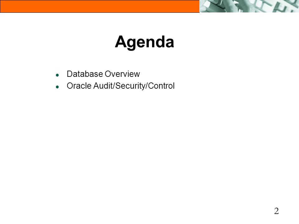 2 Agenda l Database Overview l Oracle Audit/Security/Control