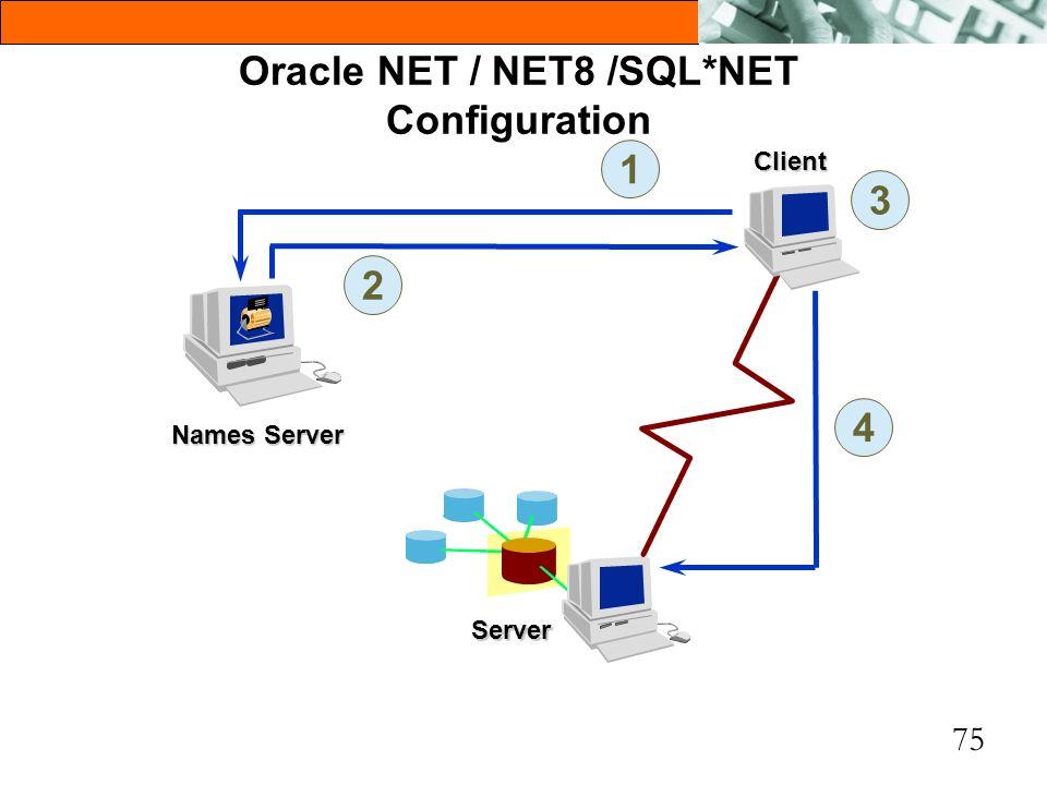 75 Oracle NET / NET8 /SQL*NET Configuration Server Names Server 1 2 3 4 Client