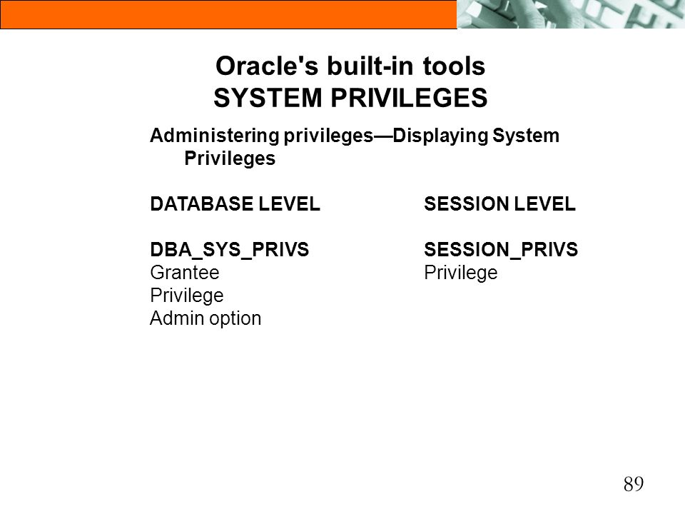 89 Oracle's built-in tools SYSTEM PRIVILEGES Administering privilegesDisplaying System Privileges DATABASE LEVELSESSION LEVEL DBA_SYS_PRIVSSESSION_PRI