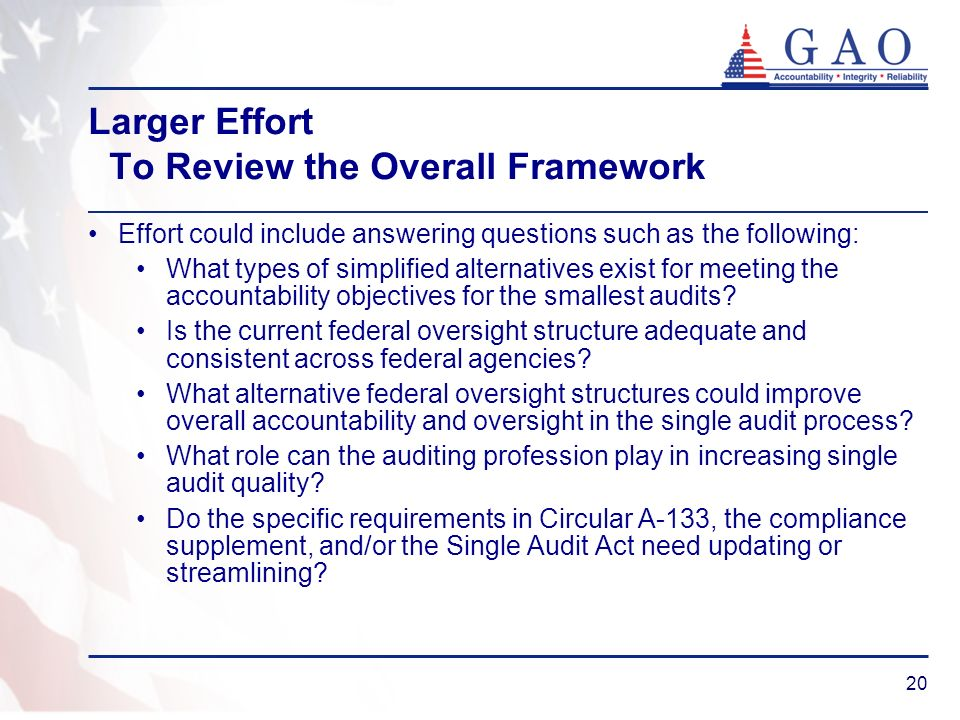 20 Larger Effort To Review the Overall Framework Effort could include answering questions such as the following: What types of simplified alternatives exist for meeting the accountability objectives for the smallest audits.