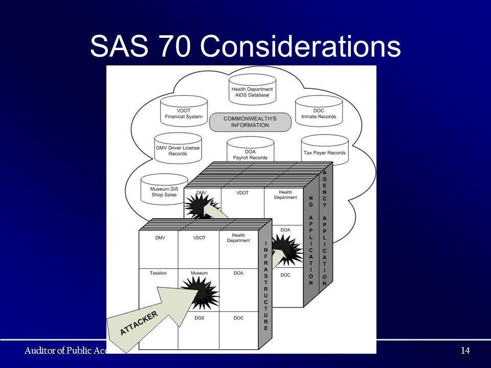 SAS 70 Considerations Auditor of Public Accounts14