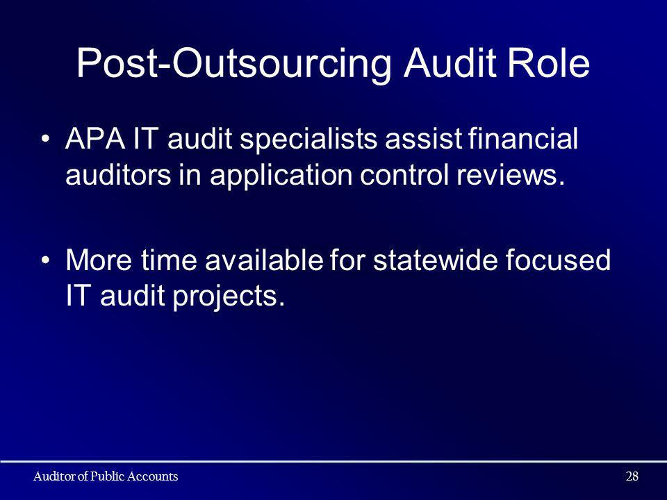 Post-Outsourcing Audit Role APA IT audit specialists assist financial auditors in application control reviews. More time available for statewide focus
