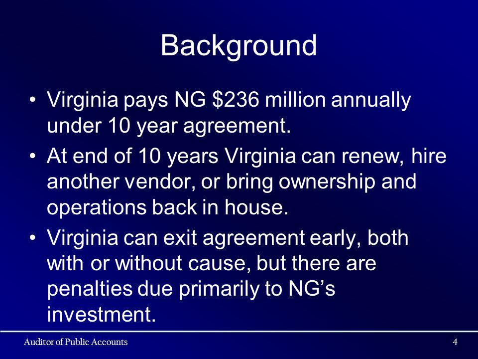 Background Virginia pays NG $236 million annually under 10 year agreement. At end of 10 years Virginia can renew, hire another vendor, or bring owners