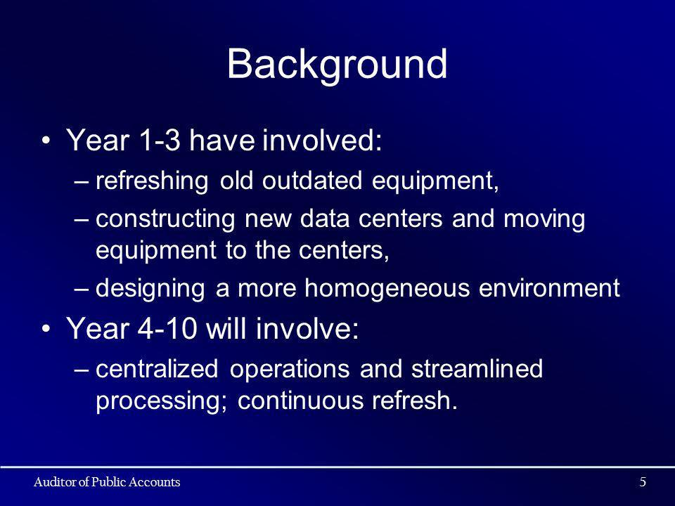 Background Year 1-3 have involved: –refreshing old outdated equipment, –constructing new data centers and moving equipment to the centers, –designing