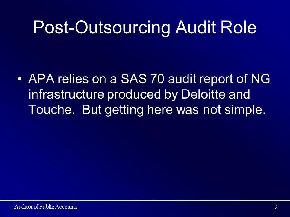 Post-Outsourcing Audit Role APA relies on a SAS 70 audit report of NG infrastructure produced by Deloitte and Touche. But getting here was not simple.