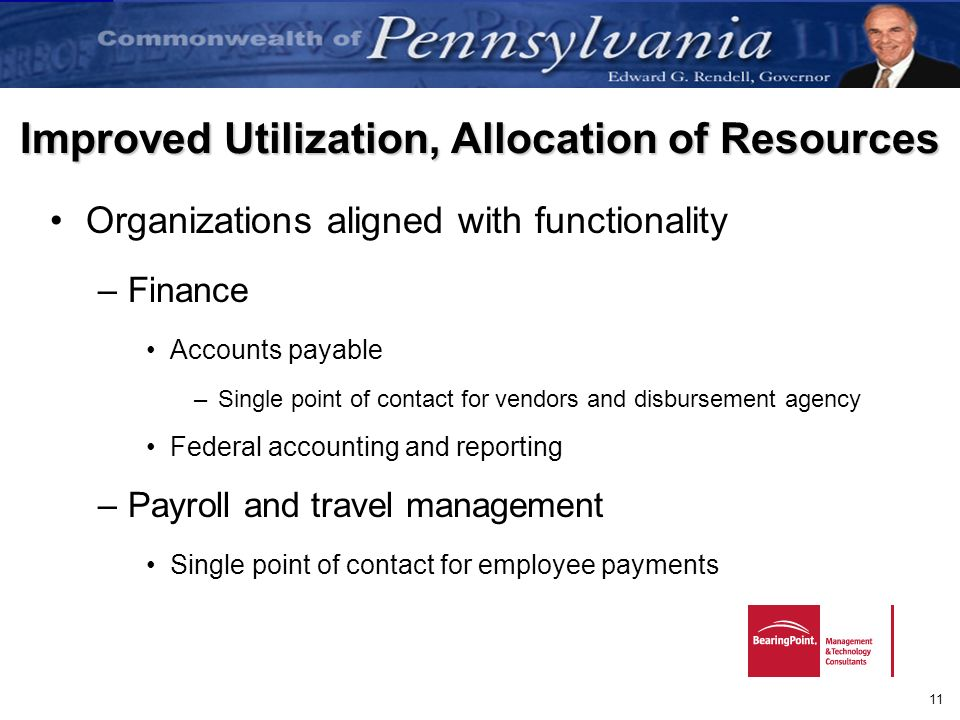 11 Improved Utilization, Allocation of Resources Organizations aligned with functionality –Finance Accounts payable –Single point of contact for vendo