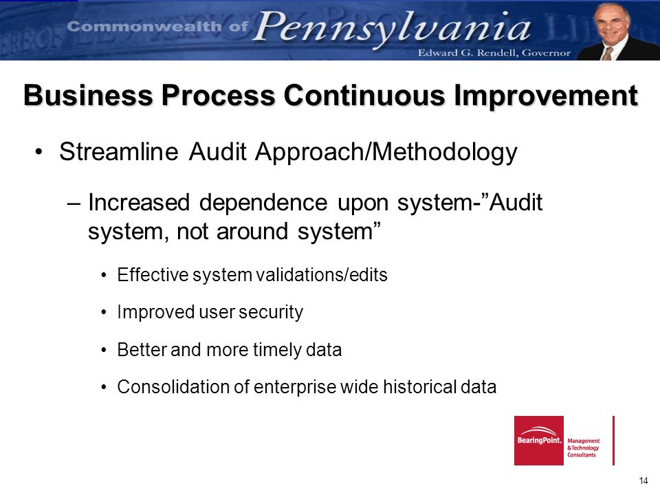 14 Business Process Continuous Improvement Streamline Audit Approach/Methodology –Increased dependence upon system-Audit system, not around system Eff