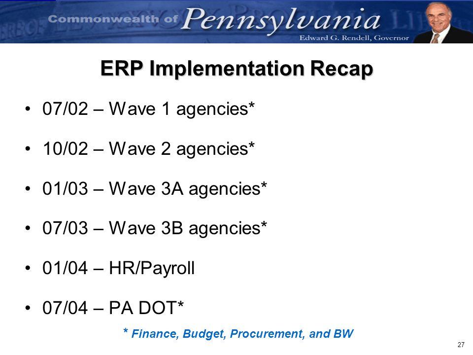 27 ERP Implementation Recap 07/02 – Wave 1 agencies* 10/02 – Wave 2 agencies* 01/03 – Wave 3A agencies* 07/03 – Wave 3B agencies* 01/04 – HR/Payroll 0
