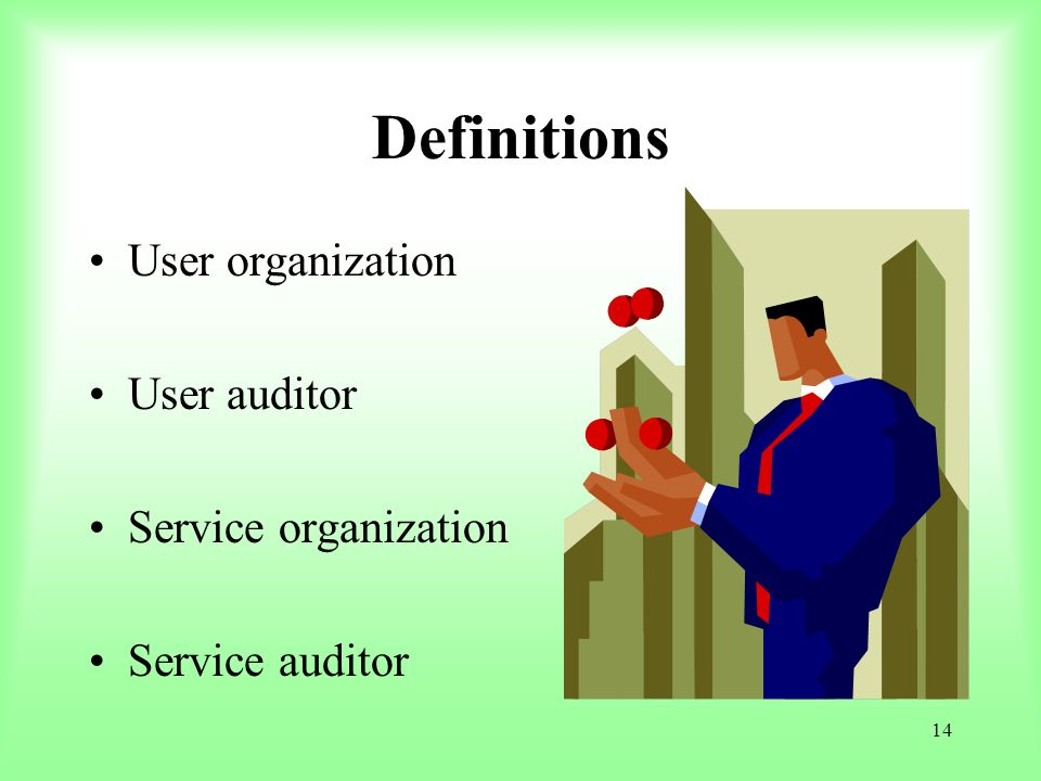14 Definitions User organization User auditor Service organization Service auditor
