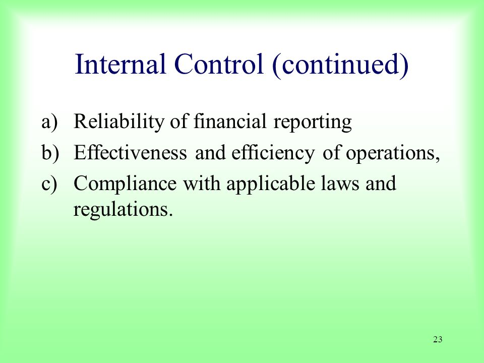 23 Internal Control (continued) a)Reliability of financial reporting b)Effectiveness and efficiency of operations, c)Compliance with applicable laws a