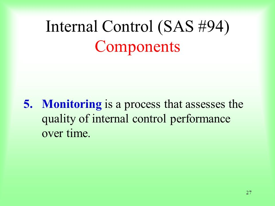 27 Internal Control (SAS #94) Components 5.Monitoring is a process that assesses the quality of internal control performance over time.