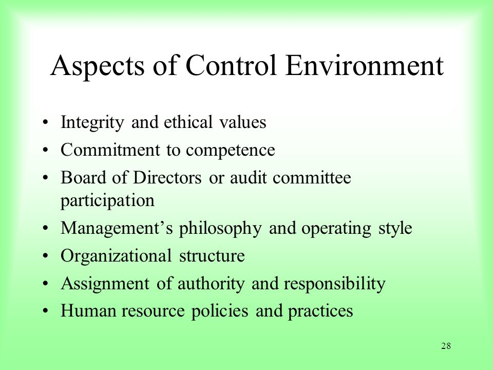 28 Aspects of Control Environment Integrity and ethical values Commitment to competence Board of Directors or audit committee participation Management