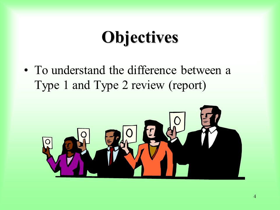 95 Using Type 1 and Type 2 Reports First – inquire about the professional reputation of the service auditor (guidance in SAS 70 AU section 324.19).