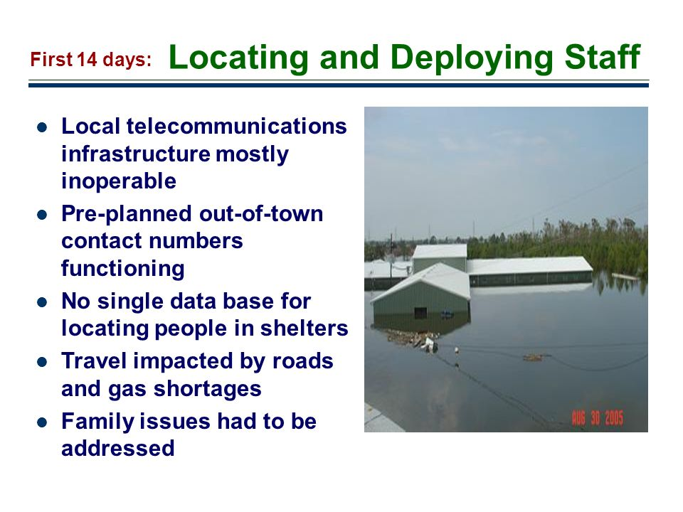 13 Locating and Deploying Staff Local telecommunications infrastructure mostly inoperable Pre-planned out-of-town contact numbers functioning No singl