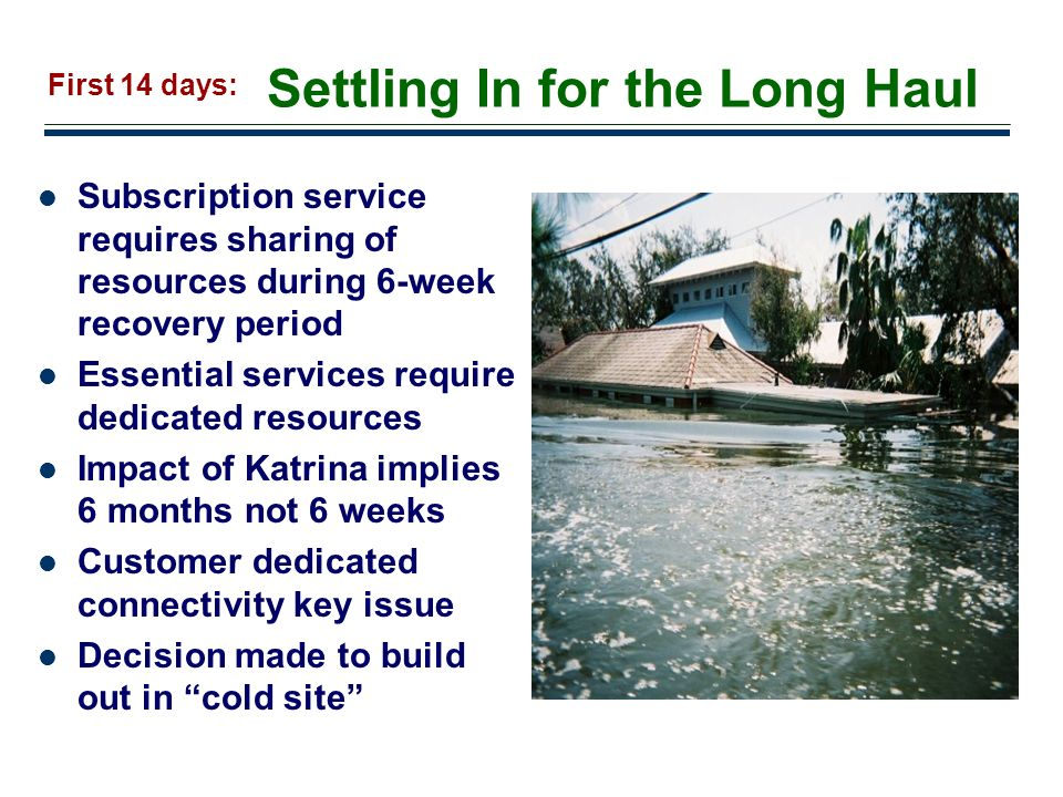 16 Settling In for the Long Haul Subscription service requires sharing of resources during 6-week recovery period Essential services require dedicated