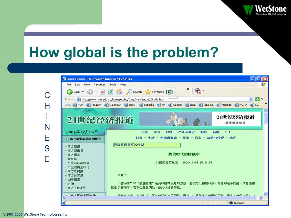 © 2003-2006 WetStone Technologies, Inc. How global is the problem? CHINESECHINESE