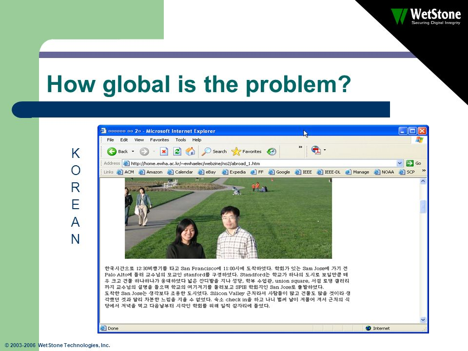 © 2003-2006 WetStone Technologies, Inc. How global is the problem? KOREANKOREAN