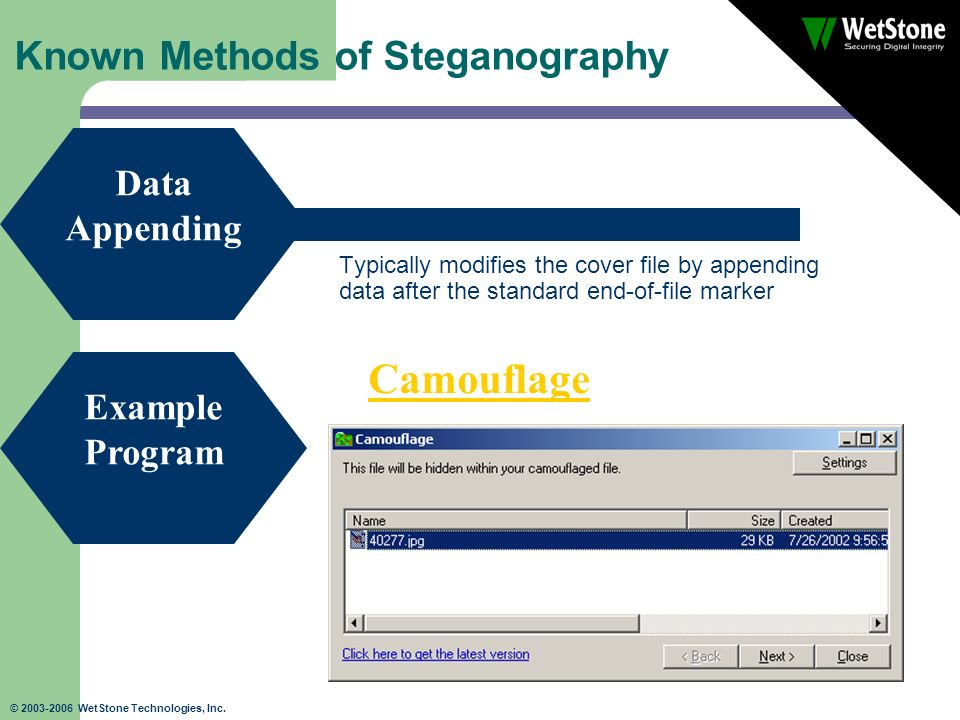 © 2003-2006 WetStone Technologies, Inc. Known Methods of Steganography Typically modifies the cover file by appending data after the standard end-of-f