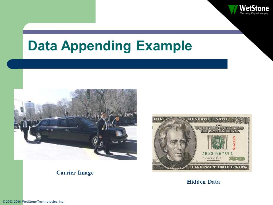 © 2003-2006 WetStone Technologies, Inc. Data Appending Example Carrier Image Hidden Data