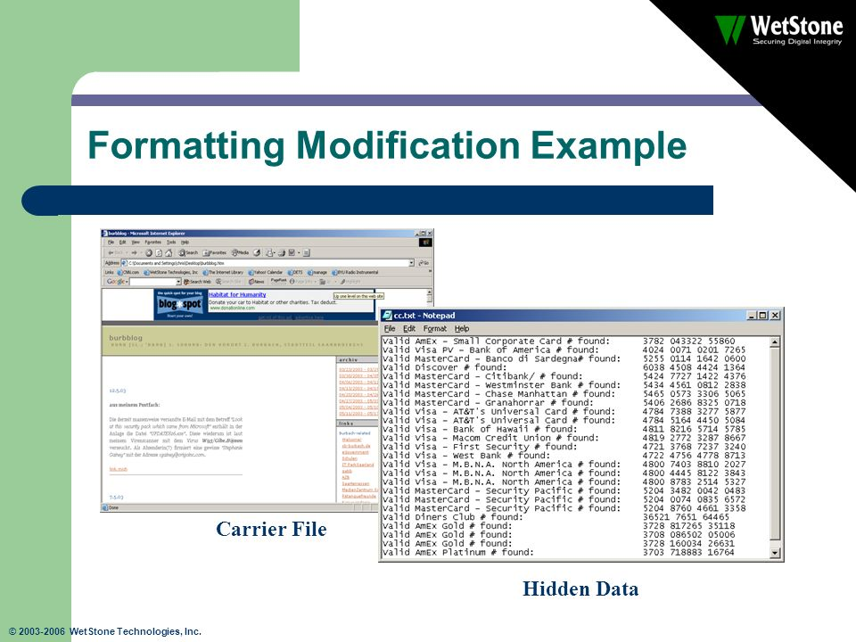 © 2003-2006 WetStone Technologies, Inc. Formatting Modification Example Carrier File Hidden Data