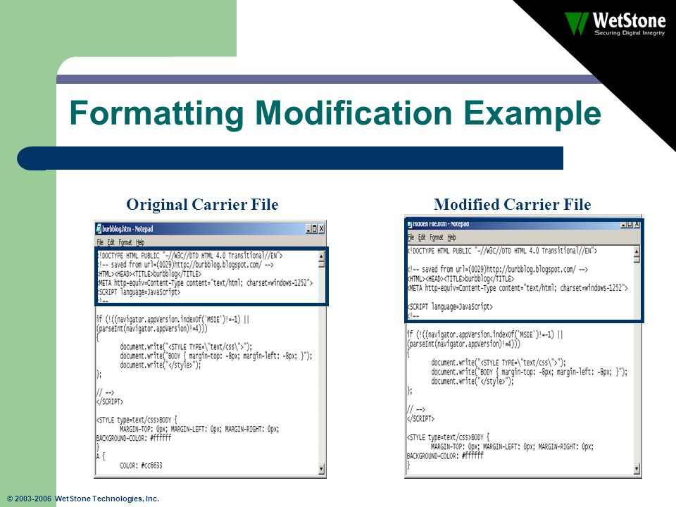 © 2003-2006 WetStone Technologies, Inc. Formatting Modification Example Original Carrier FileModified Carrier File