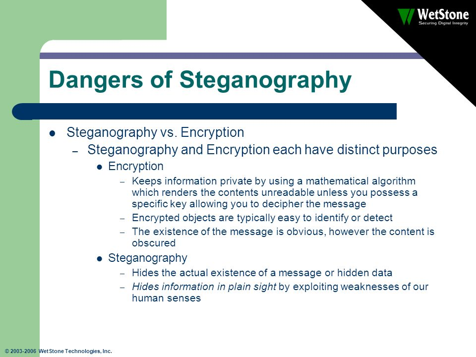 © 2003-2006 WetStone Technologies, Inc. Dangers of Steganography Steganography vs. Encryption – Steganography and Encryption each have distinct purpos
