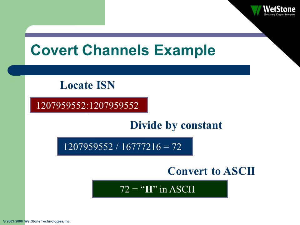 © 2003-2006 WetStone Technologies, Inc. Covert Channels Example 1207959552:1207959552 Locate ISN 1207959552 / 16777216 = 72 Divide by constant 72 = H
