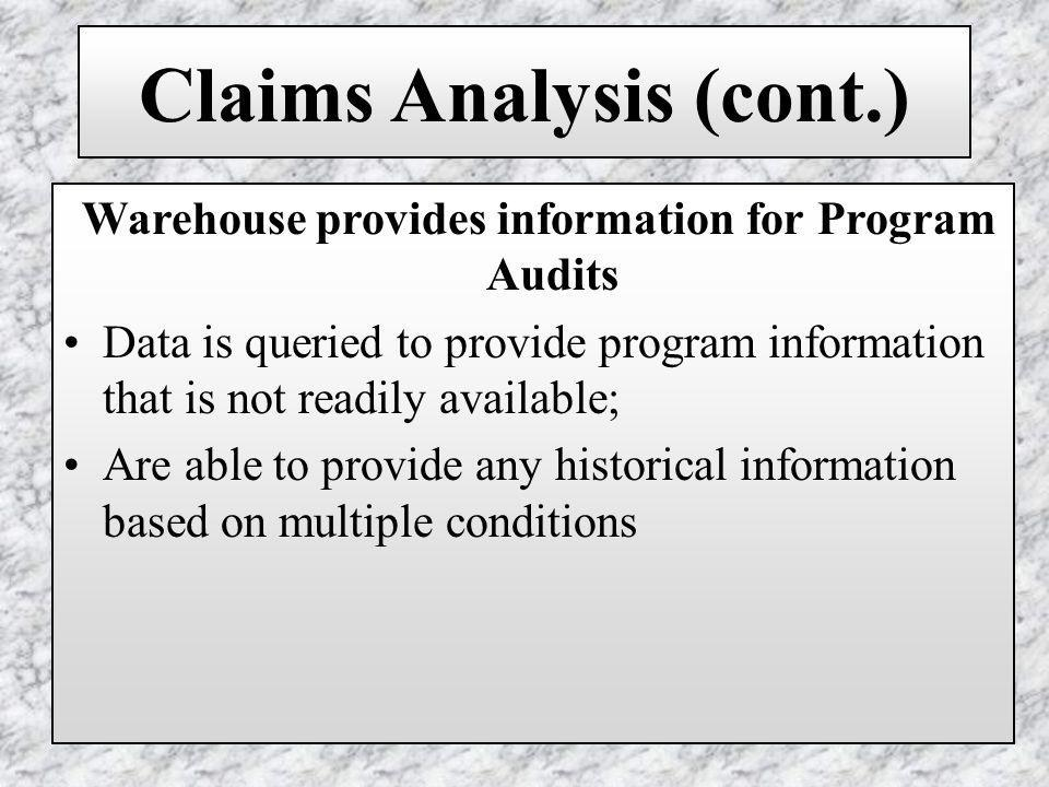 Claims Analysis (cont.) Warehouse provides information for Program Audits Data is queried to provide program information that is not readily available; Are able to provide any historical information based on multiple conditions