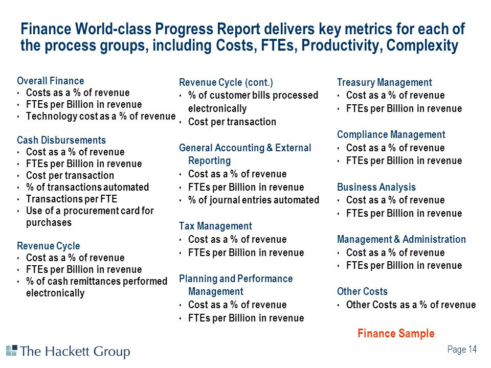 Page 14 Finance World-class Progress Report delivers key metrics for each of the process groups, including Costs, FTEs, Productivity, Complexity Overa
