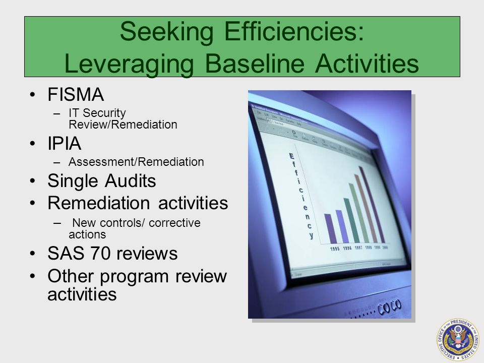Seeking Efficiencies: Leveraging Baseline Activities FISMA –IT Security Review/Remediation IPIA –Assessment/Remediation Single Audits Remediation activities – New controls/ corrective actions SAS 70 reviews Other program review activities