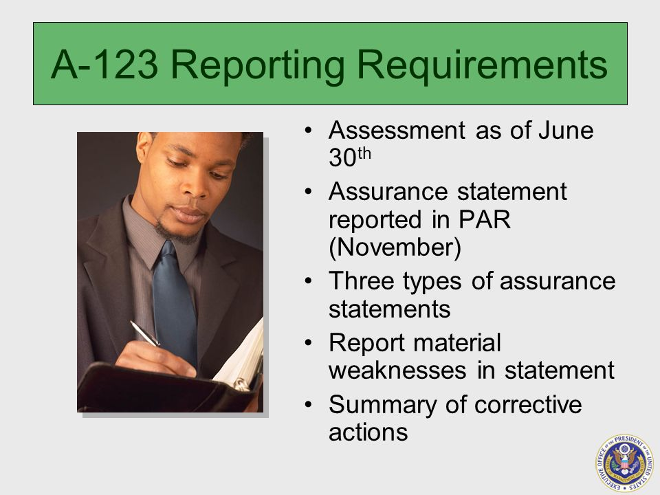 A-123 Reporting Requirements Assessment as of June 30 th Assurance statement reported in PAR (November) Three types of assurance statements Report material weaknesses in statement Summary of corrective actions