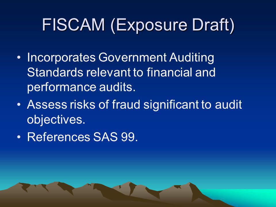 FISCAM (Exposure Draft) Incorporates Government Auditing Standards relevant to financial and performance audits. Assess risks of fraud significant to