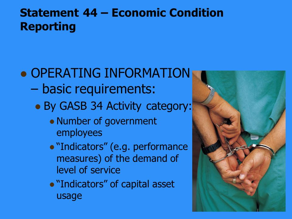 OPERATING INFORMATION – basic requirements: By GASB 34 Activity category: Number of government employees Indicators (e.g.