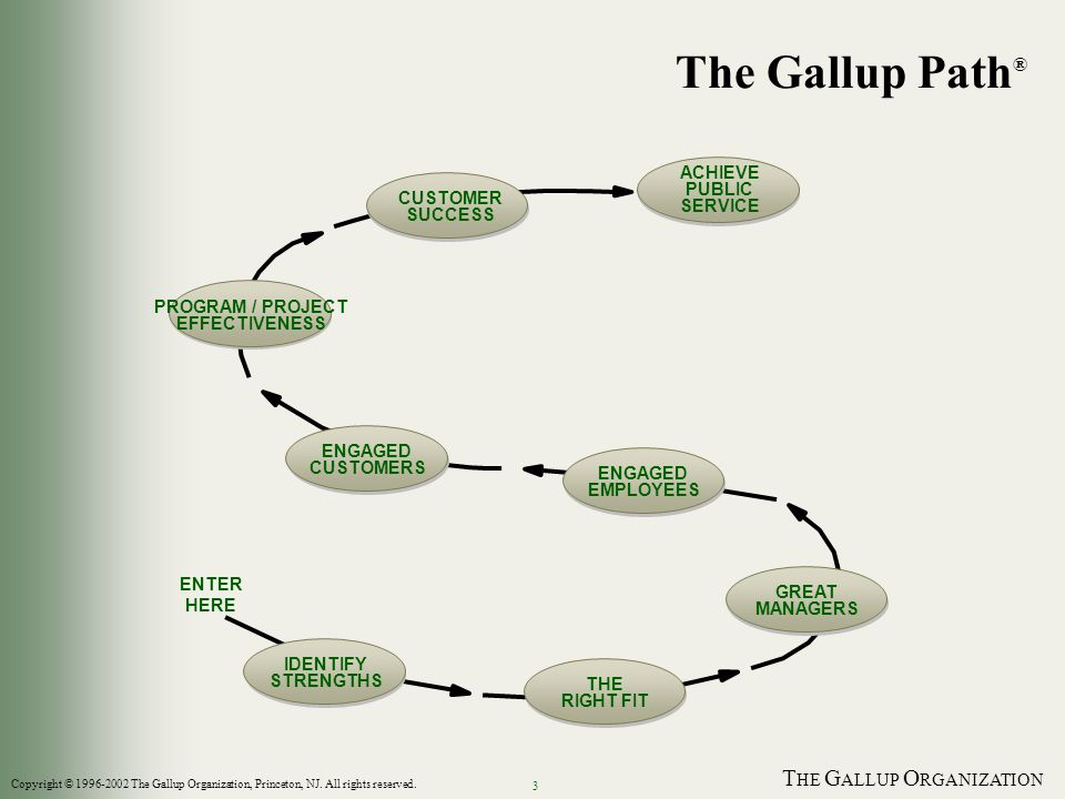 T HE G ALLUP O RGANIZATION 3 The Gallup Path ® ENTER HERE IDENTIFY STRENGTHS THE RIGHT FIT GREAT MANAGERS ENGAGED EMPLOYEES ENGAGED CUSTOMERS PROGRAM / PROJECT EFFECTIVENESS CUSTOMER SUCCESS ACHIEVE PUBLIC SERVICE Copyright © The Gallup Organization, Princeton, NJ.