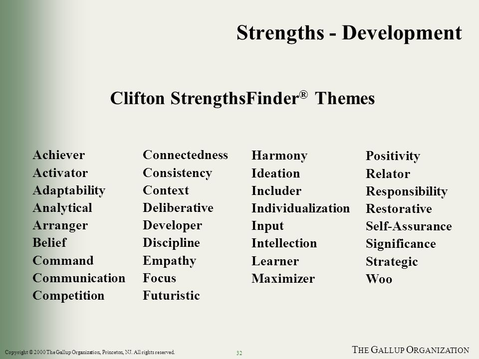T HE G ALLUP O RGANIZATION 32 Strengths - Development Clifton StrengthsFinder ® Themes Harmony Ideation Includer Individualization Input Intellection