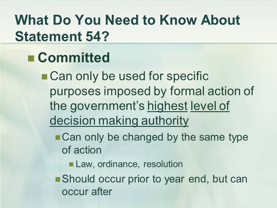 What Do You Need to Know About Statement 54.