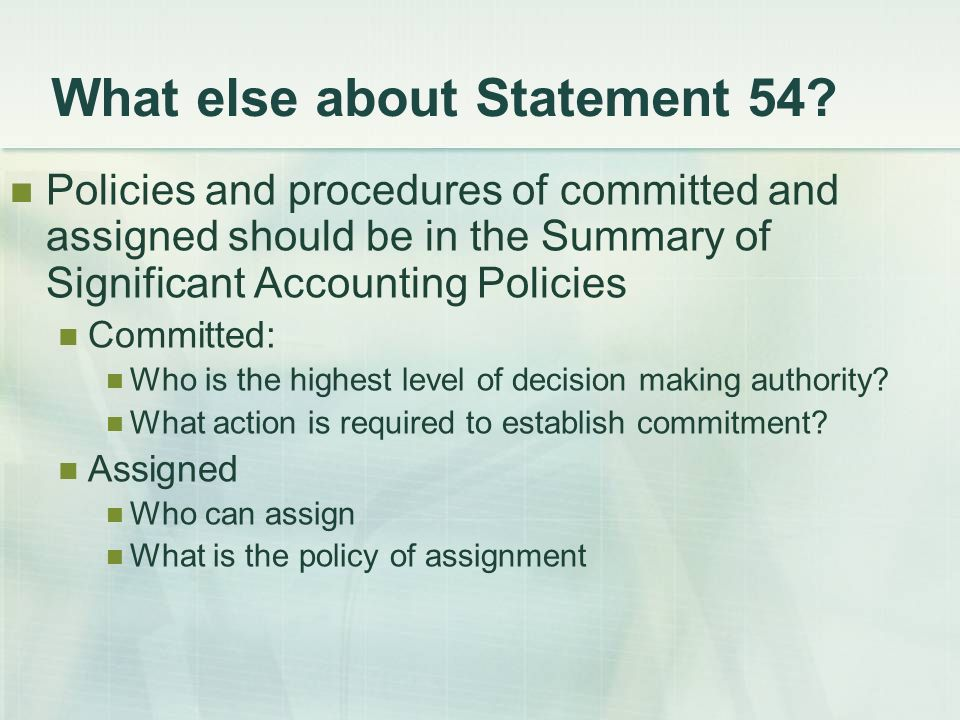 What else about Statement 54.