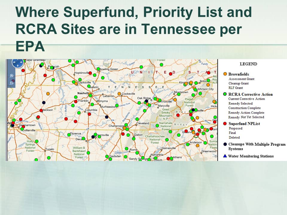 Where Superfund, Priority List and RCRA Sites are in Tennessee per EPA