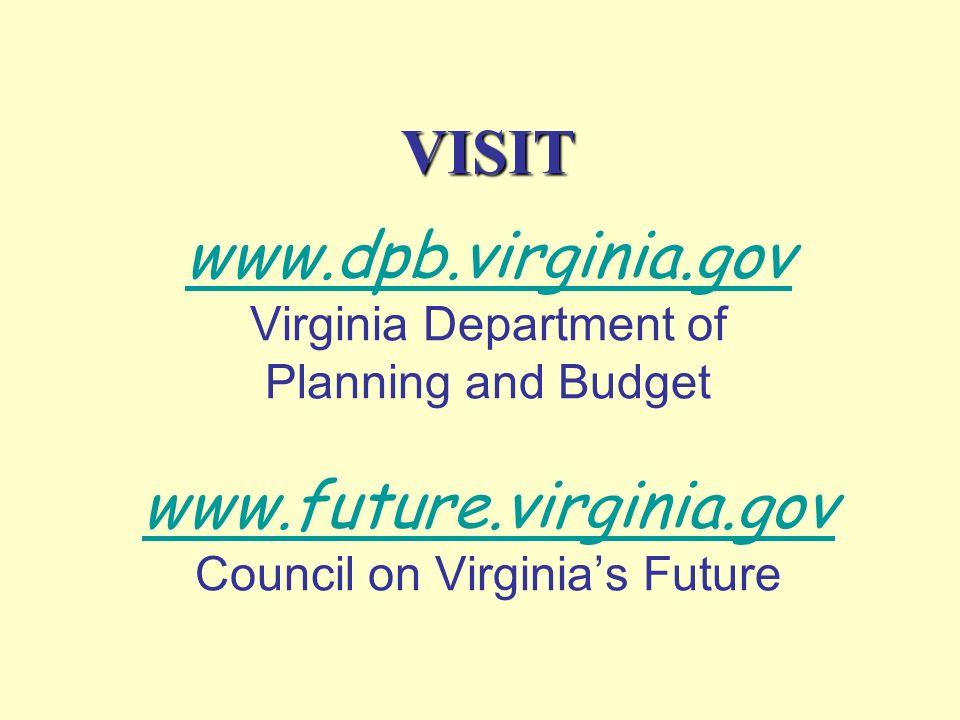 VISIT VISIT www.dpb.virginia.gov Virginia Department of Planning and Budget www.future.virginia.gov Council on Virginias Future www.dpb.virginia.gov w