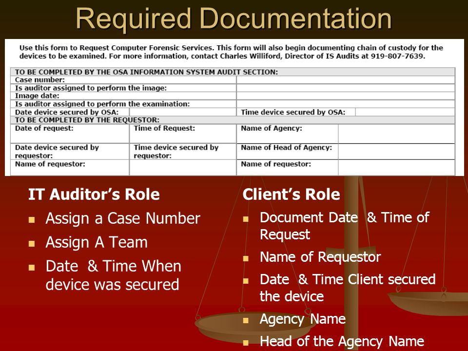IT Auditors Role Assign a Case Number Assign A Team Date & Time When device was secured Clients Role Document Date & Time of Request Name of Requestor Date & Time Client secured the device Agency Name Head of the Agency Name