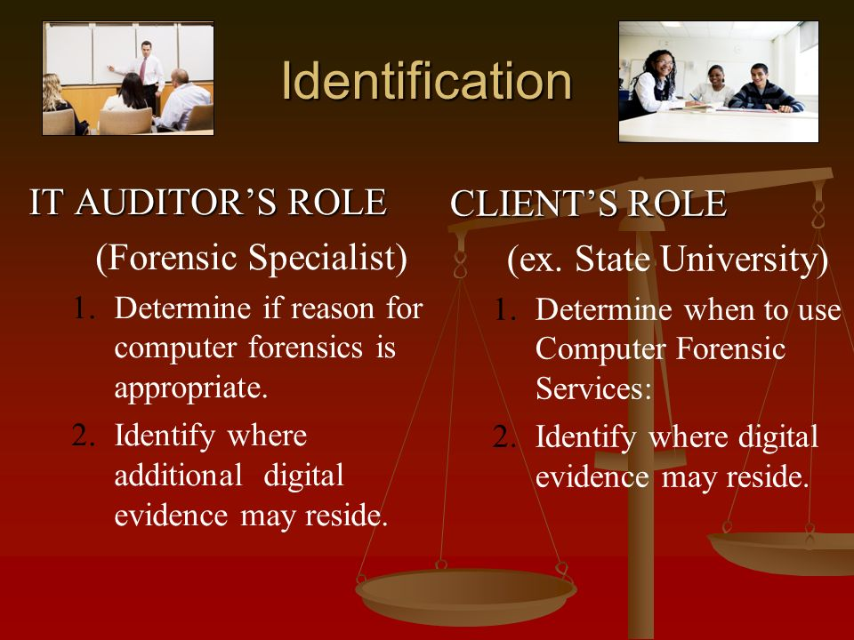 Identification IT AUDITORS ROLE (Forensic Specialist) 1.