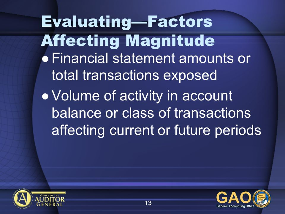 13 EvaluatingFactors Affecting Magnitude Financial statement amounts or total transactions exposed Volume of activity in account balance or class of transactions affecting current or future periods