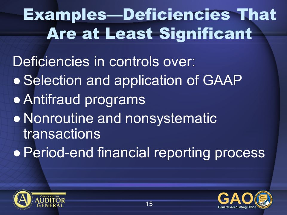 15 ExamplesDeficiencies That Are at Least Significant Deficiencies in controls over: Selection and application of GAAP Antifraud programs Nonroutine a