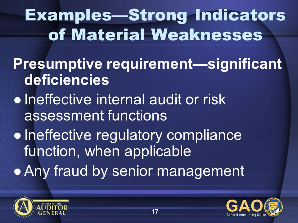 17 ExamplesStrong Indicators of Material Weaknesses Presumptive requirementsignificant deficiencies Ineffective internal audit or risk assessment functions Ineffective regulatory compliance function, when applicable Any fraud by senior management