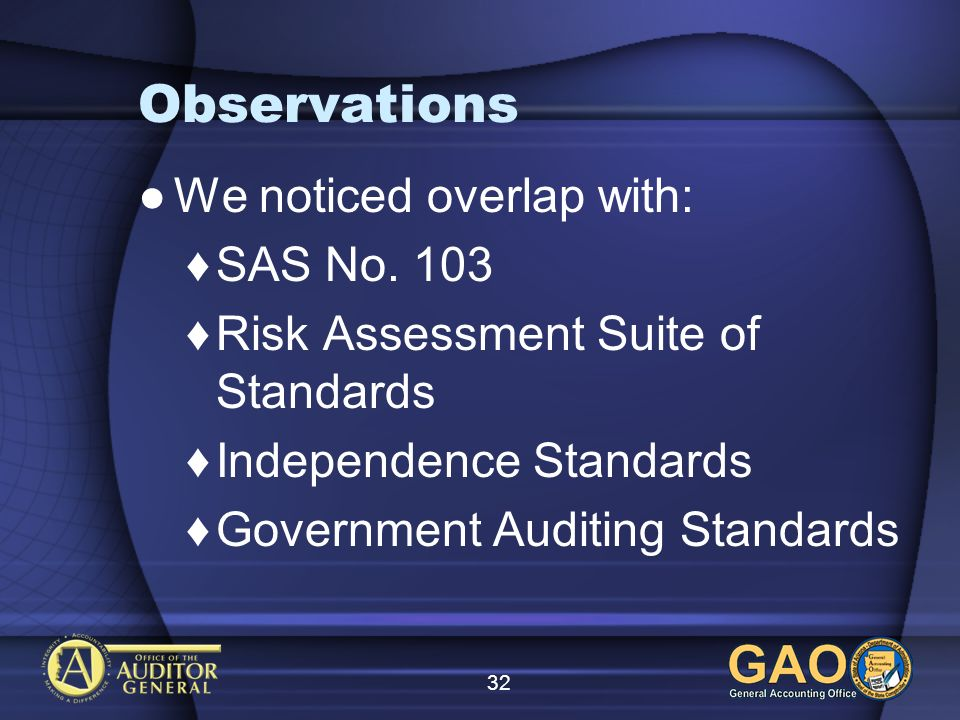 32 Observations We noticed overlap with: SAS No.